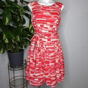 Robbie Bee white pink red fit & flair dress 10